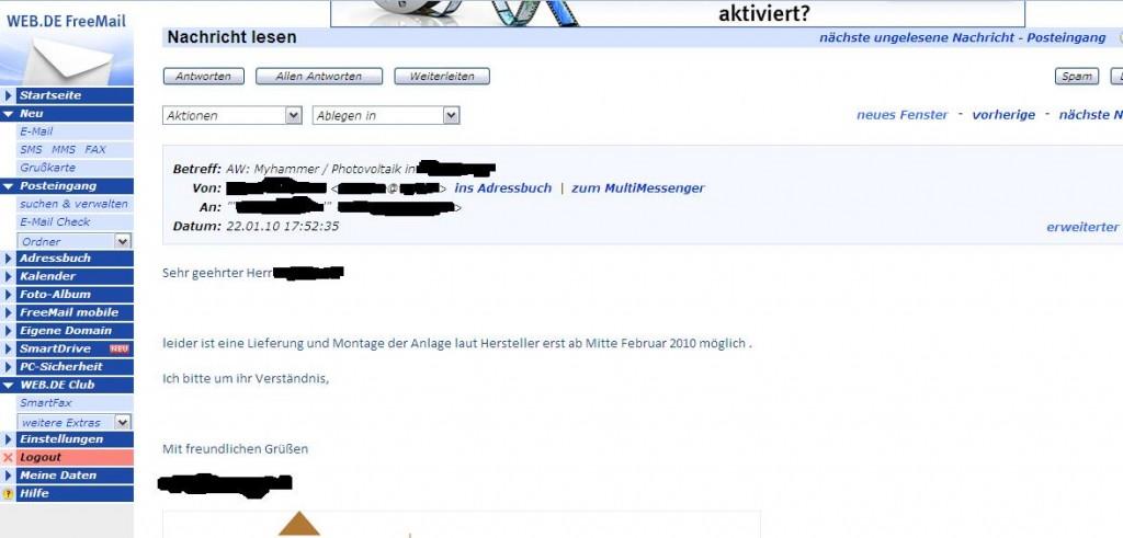 Eine Email vom Solarteur